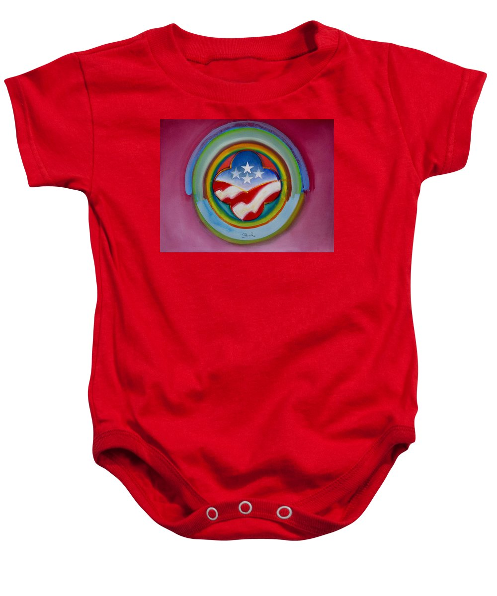 Button Baby Onesie featuring the painting Four Star Button by Charles Stuart