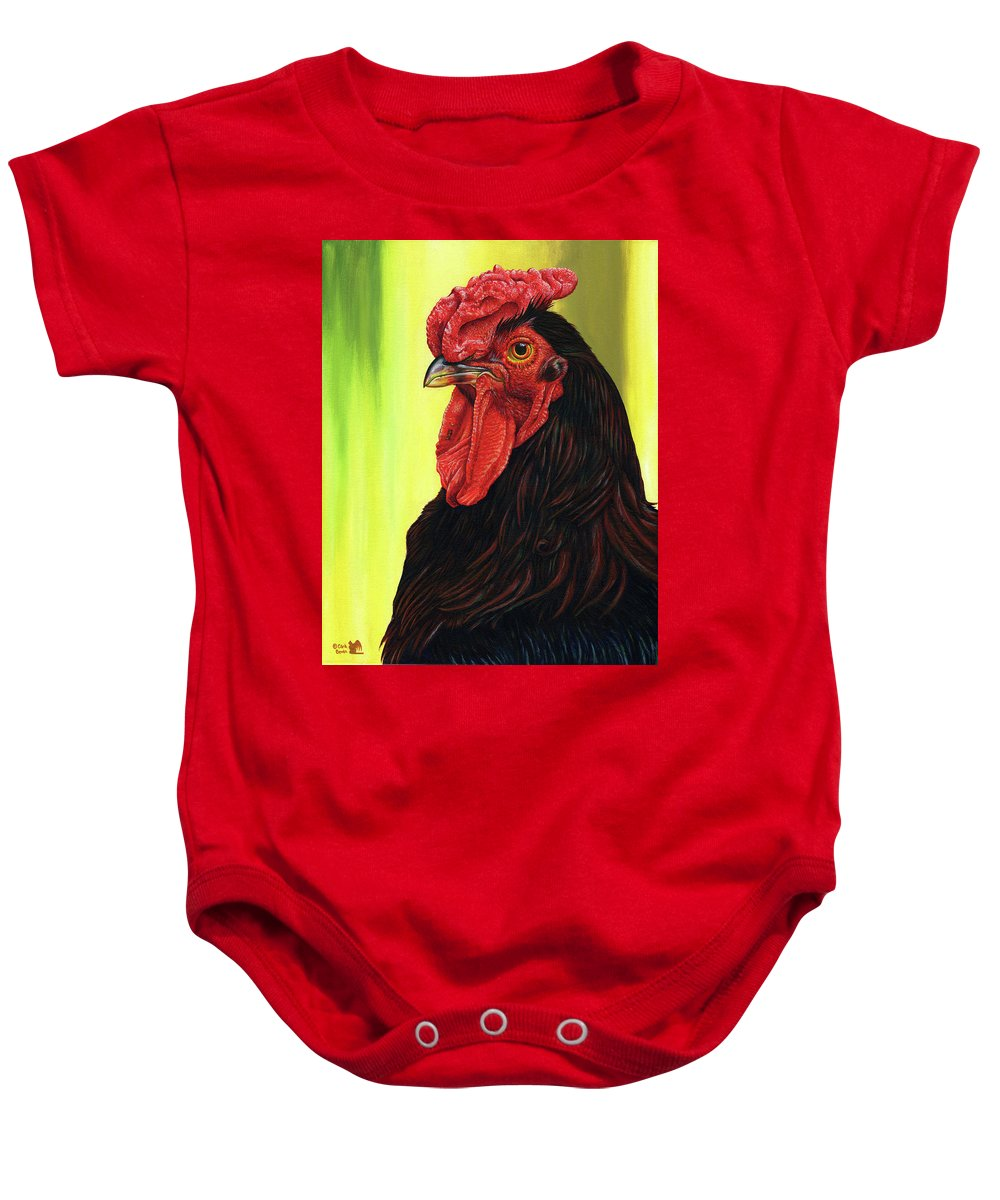 Rhode Baby Onesie featuring the painting Fowl Emperor by Cara Bevan