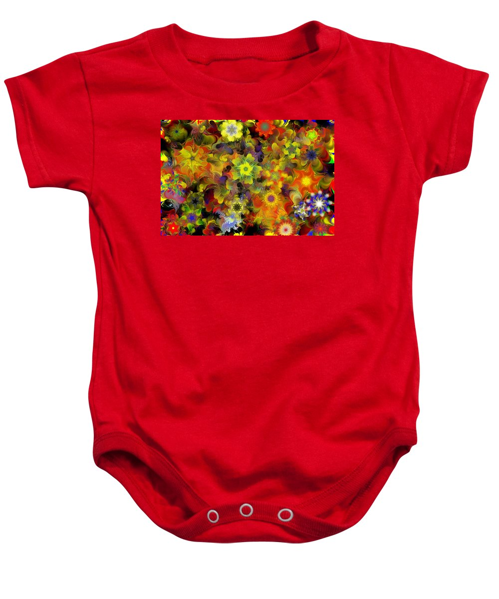 Digital Painting Baby Onesie featuring the digital art Fractal Floral Study 10-27-09 by David Lane
