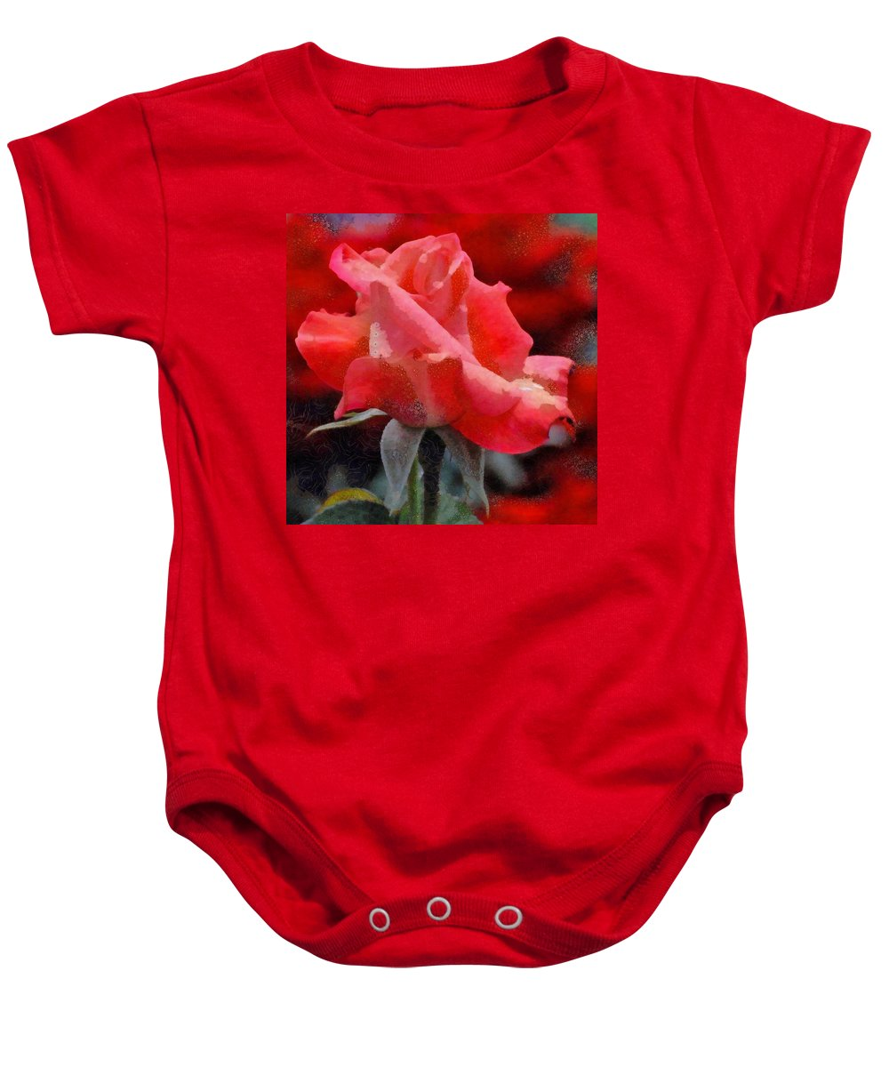 Fragmented Pink Rose Baby Onesie featuring the digital art Fragmented Pink Rose by Catherine Lott
