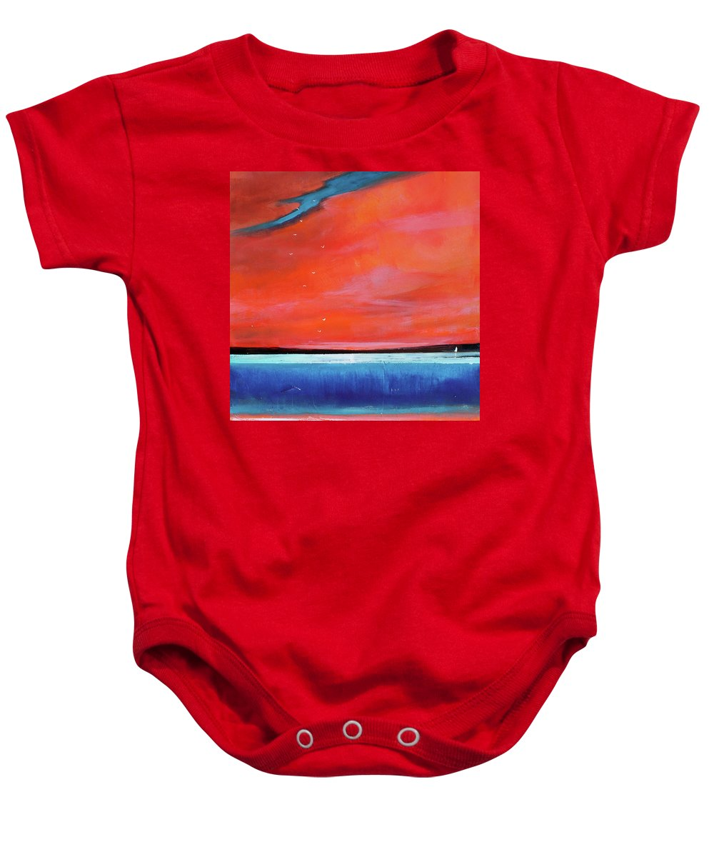 Red Baby Onesie featuring the painting Freedom Journey by Toni Grote