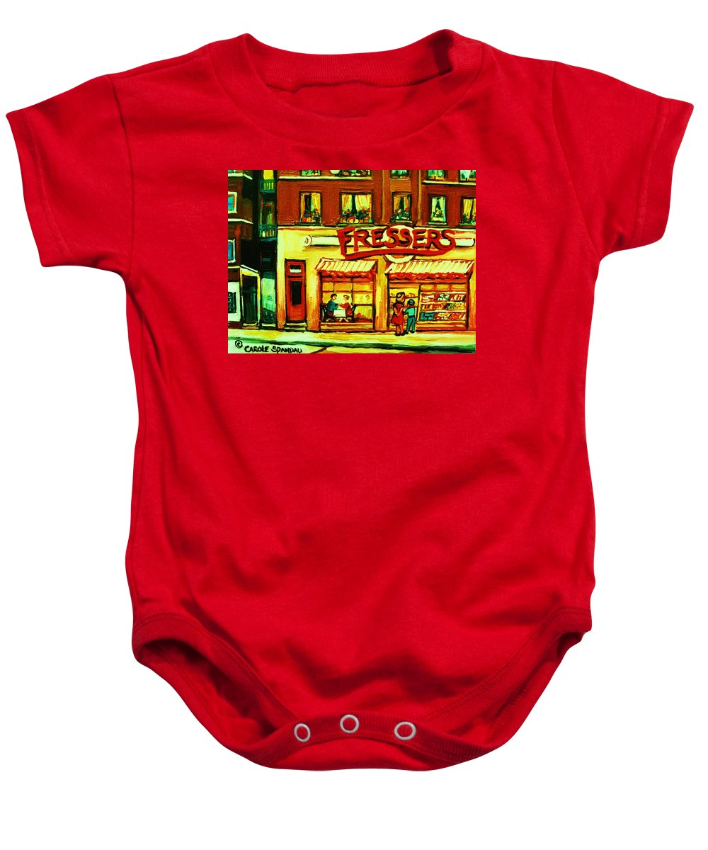Fressers Baby Onesie featuring the painting Fressers Takeout Deli by Carole Spandau
