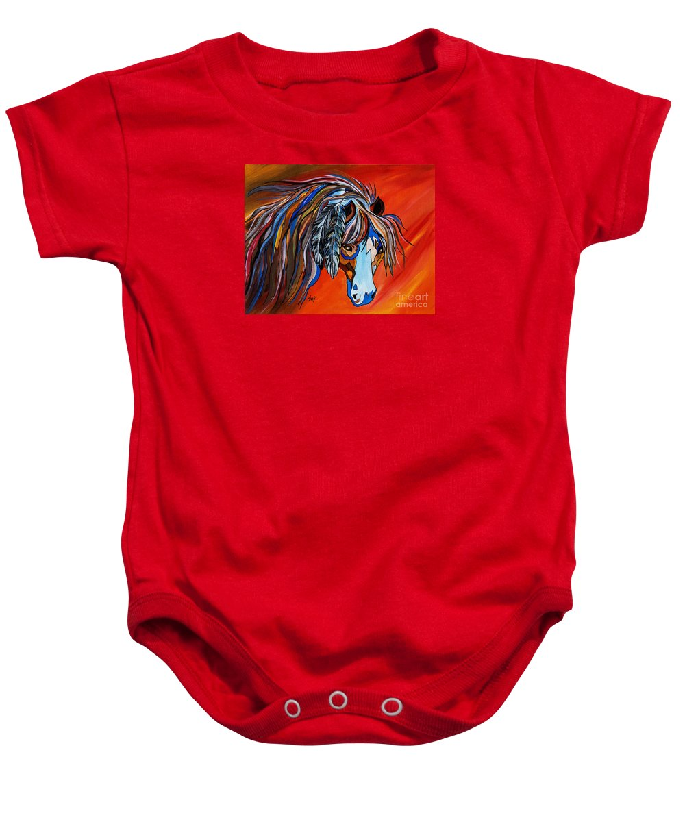 Horse Baby Onesie featuring the painting Frisco War Horse by Janice Pariza