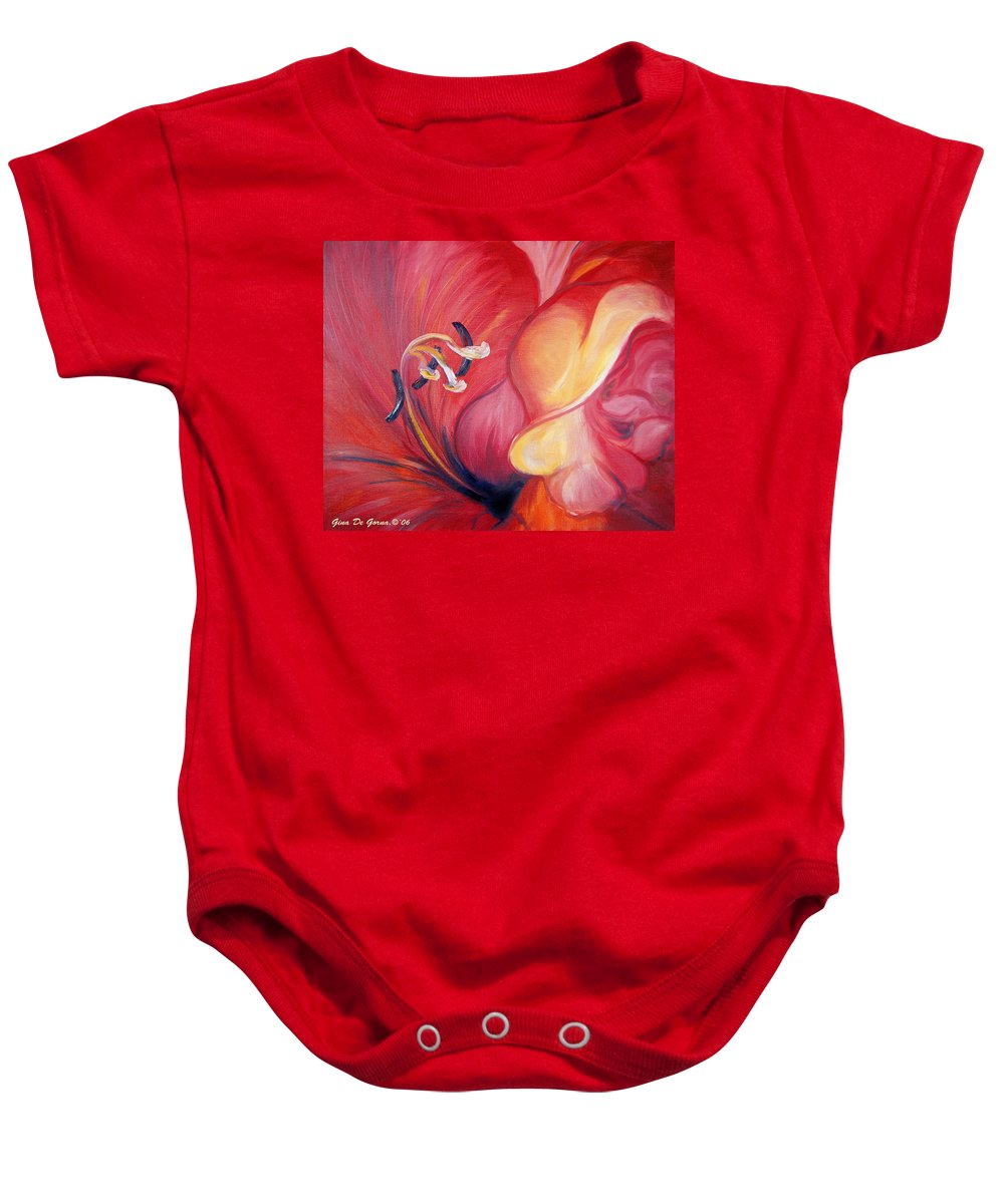 Red Baby Onesie featuring the painting From the Heart of a Flower RED by Gina De Gorna
