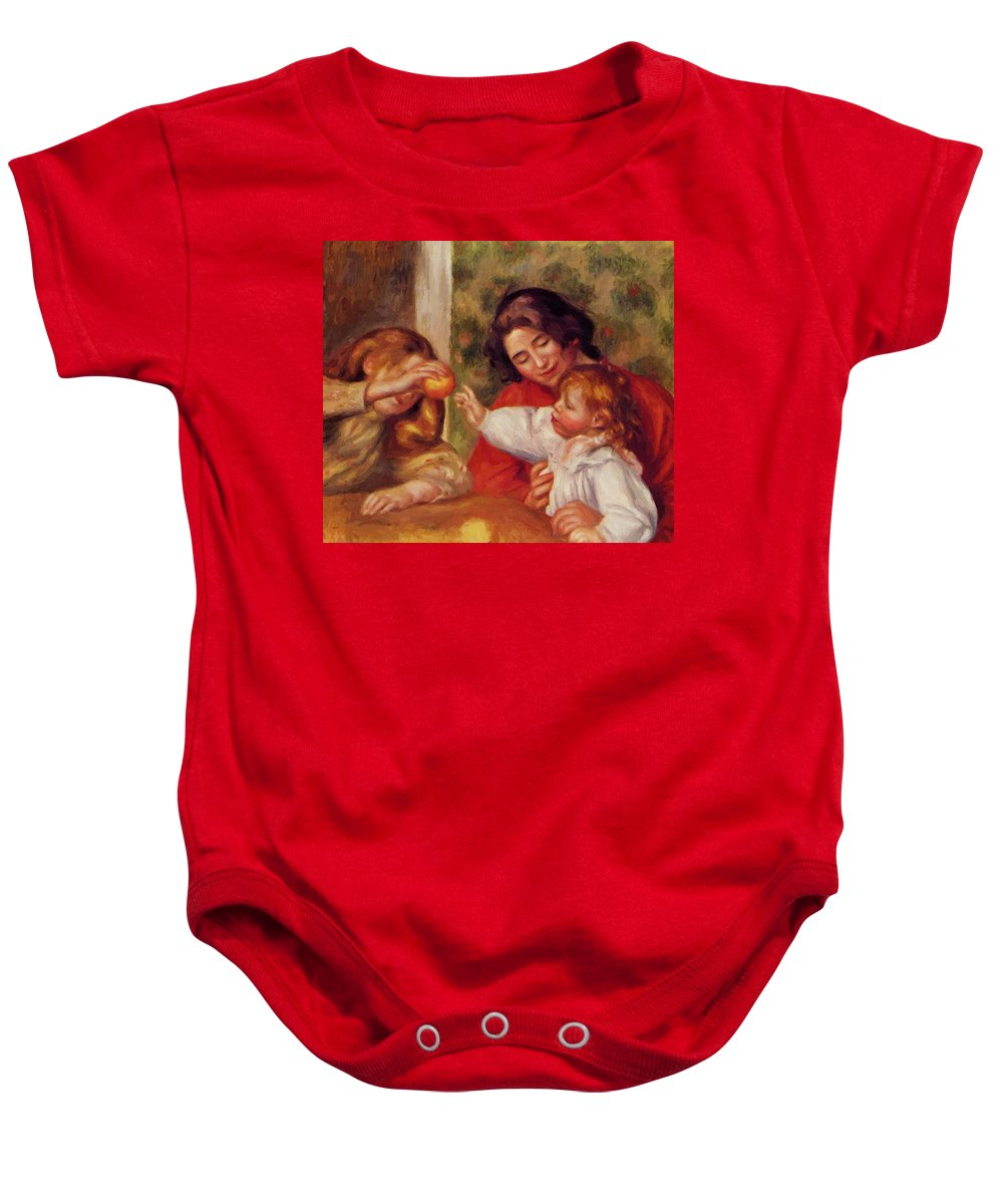 Gabrielle Baby Onesie featuring the painting Gabrielle Jean And A Little Girl by Renoir PierreAuguste