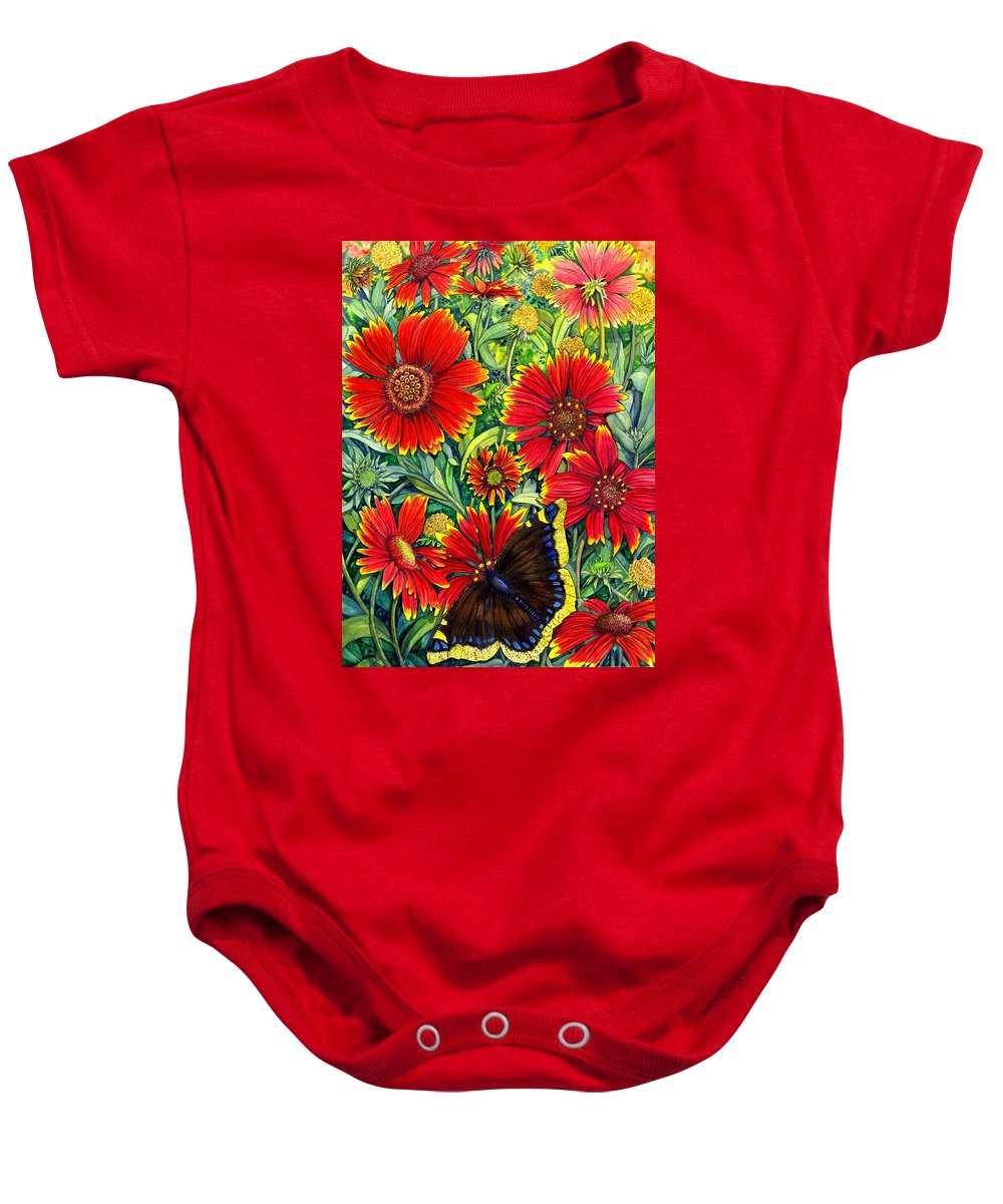 Butterfly Baby Onesie featuring the painting Gaillardia by Catherine G McElroy