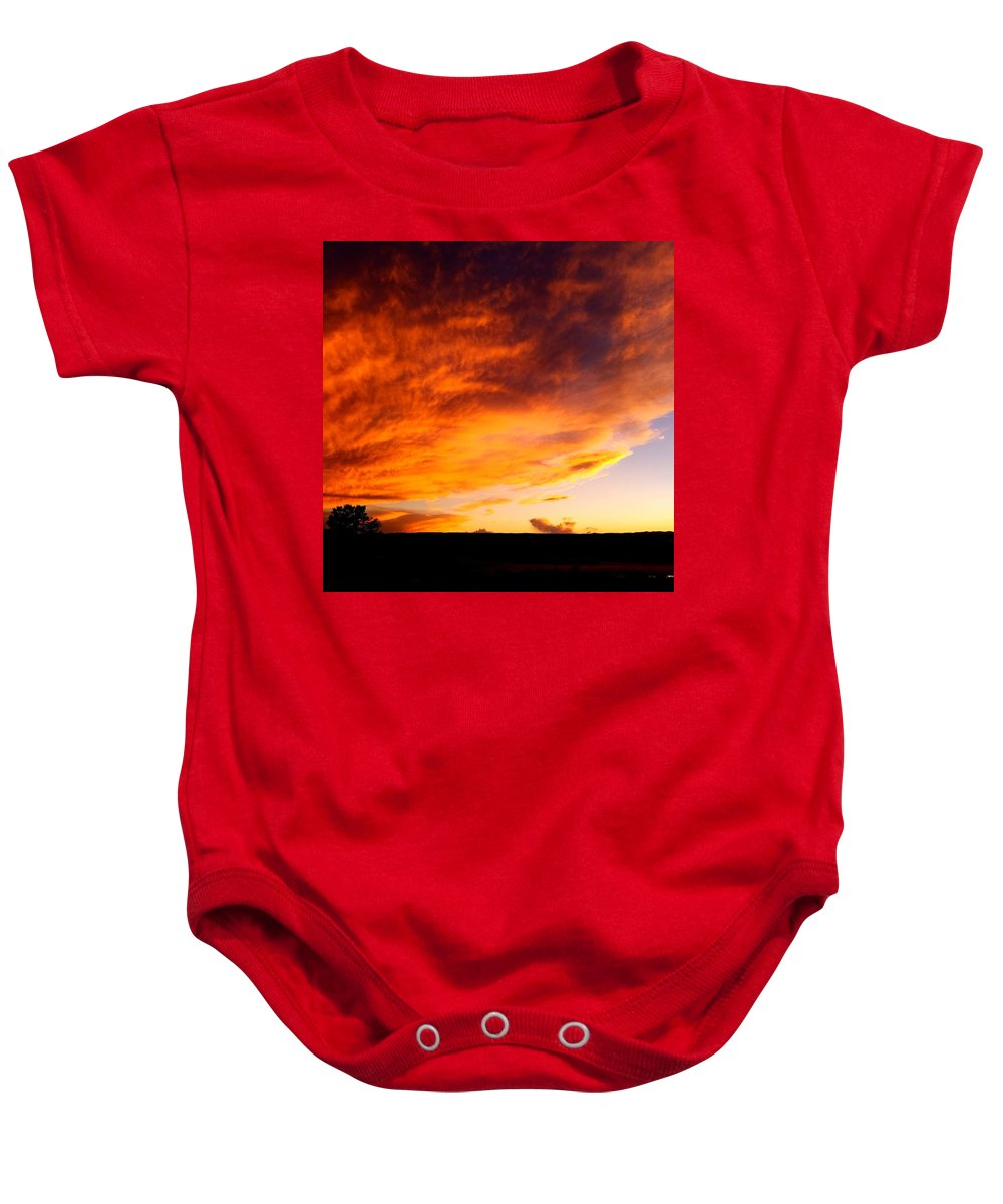 Landscape/ Sunset Baby Onesie featuring the photograph Gallo Peak Fiery Skies by Rudy Gallegos
