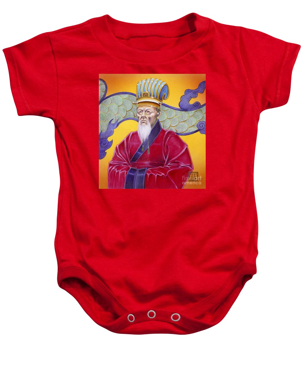 Oriental Baby Onesie featuring the painting Gao Zhang by Melissa A Benson