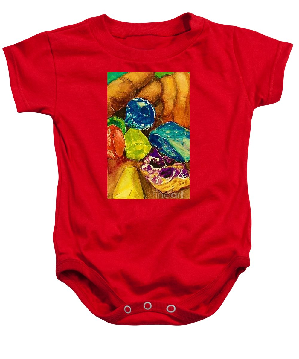 Gems Baby Onesie featuring the painting Gems by Carliss Prosser
