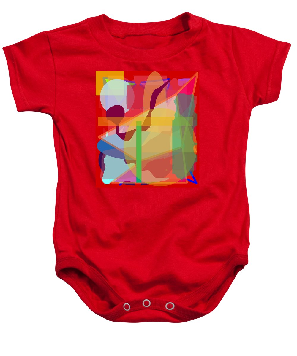 Abstract Baby Onesie featuring the painting Geo Frenzy by Pharris Art