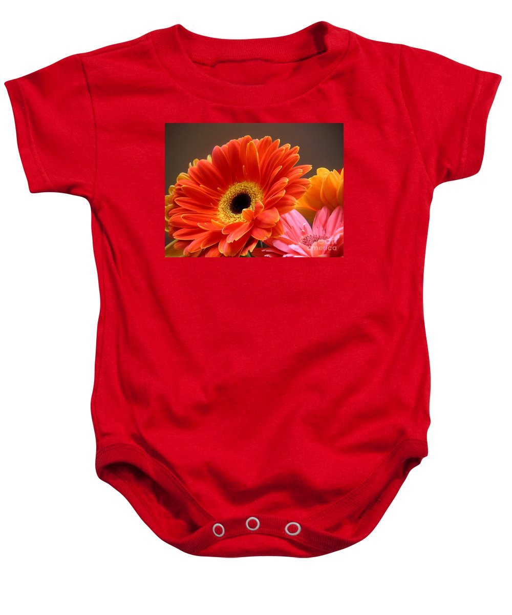 Nature Baby Onesie featuring the photograph Gerbera Daisies - Luminous by Lucyna A M Green