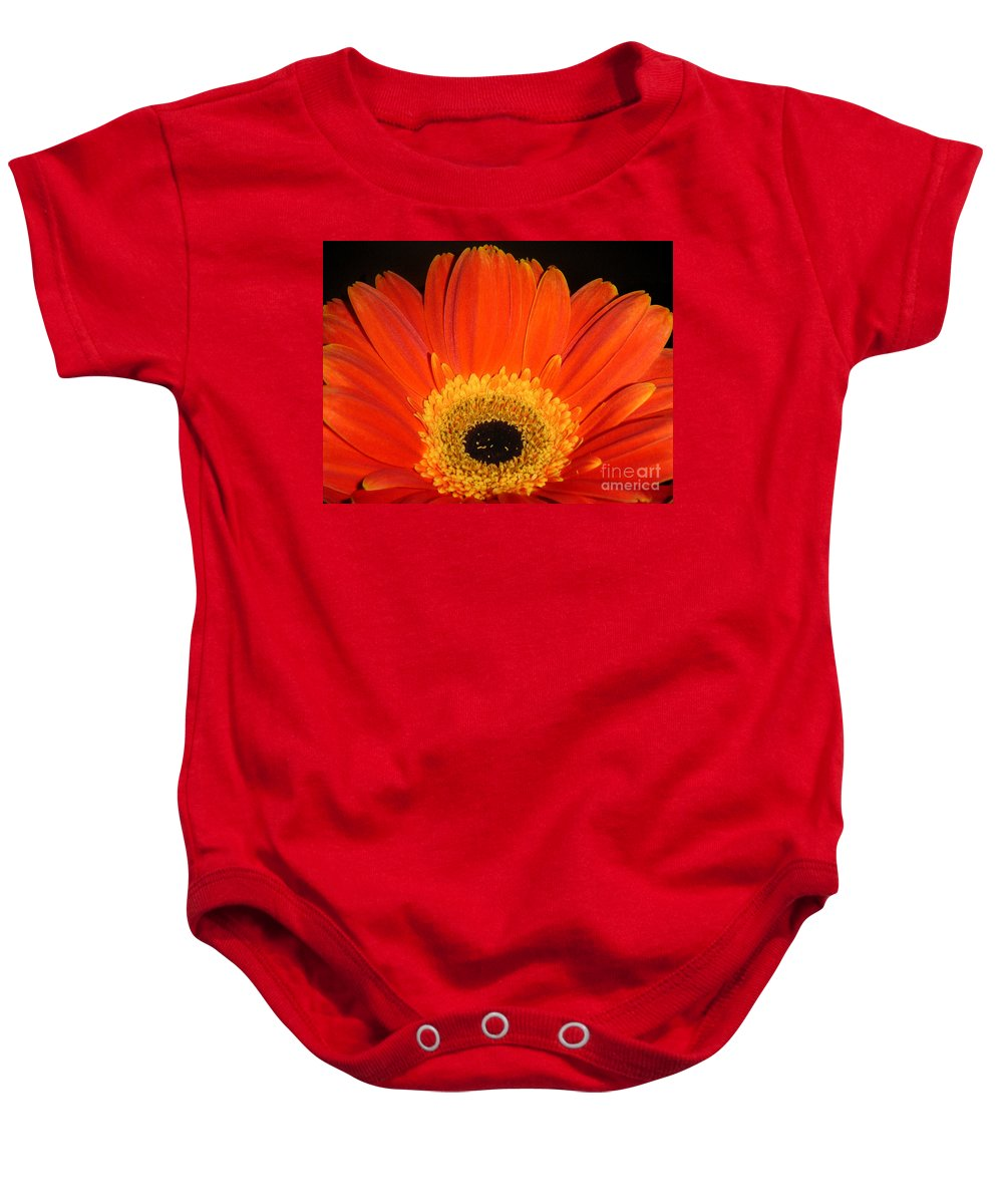 Nature Baby Onesie featuring the photograph Gerbera Daisy - Glowing In The Dark by Lucyna A M Green