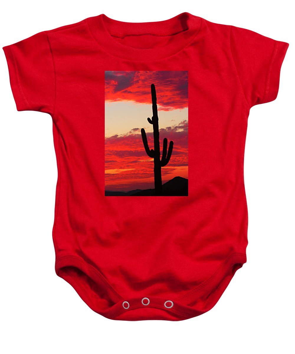 Sunset Baby Onesie featuring the photograph Giant Saguaro Southwest Desert Sunset by James BO Insogna