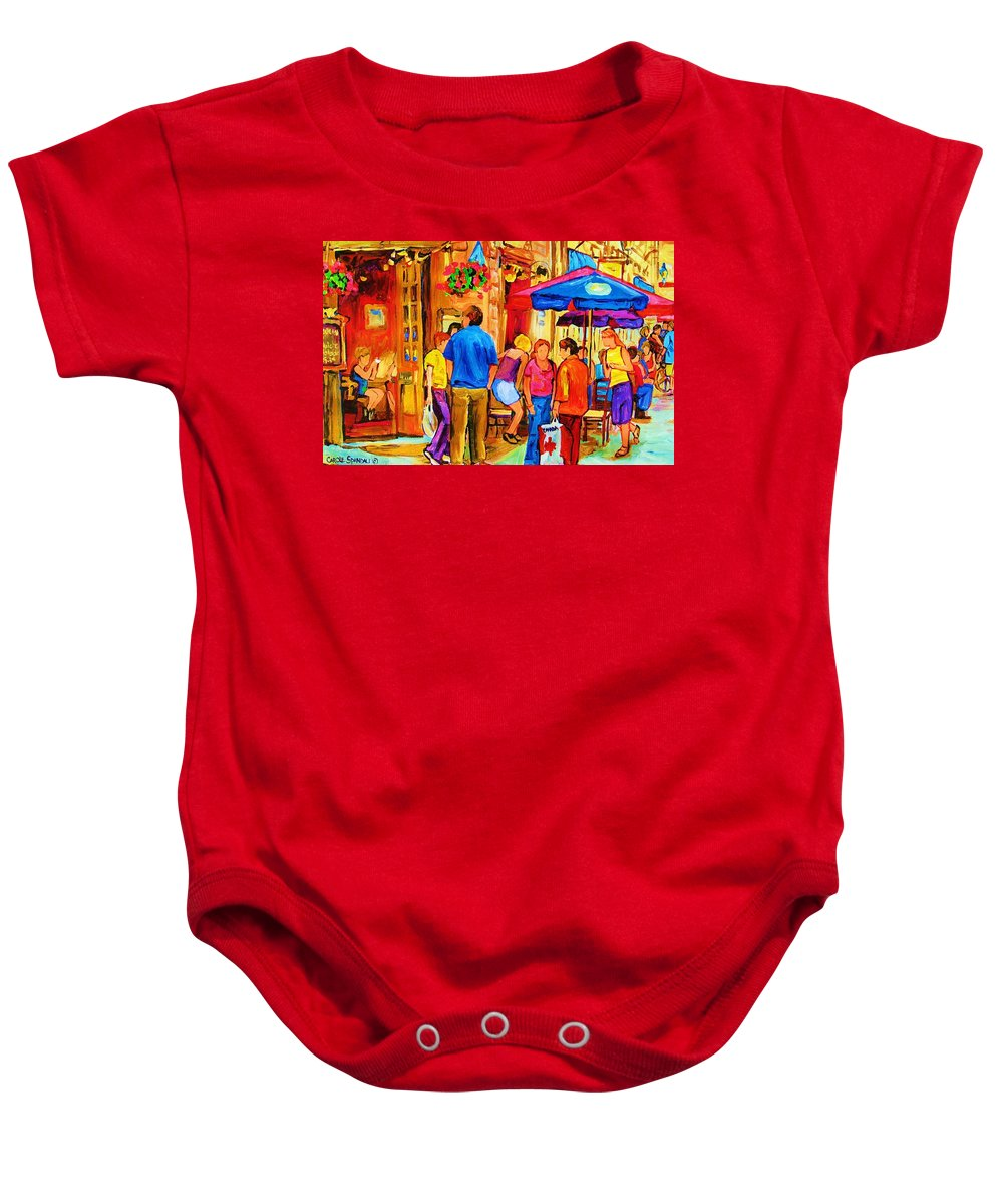 Montreal Cafe Scenes Baby Onesie featuring the painting Girl In The Cafe by Carole Spandau