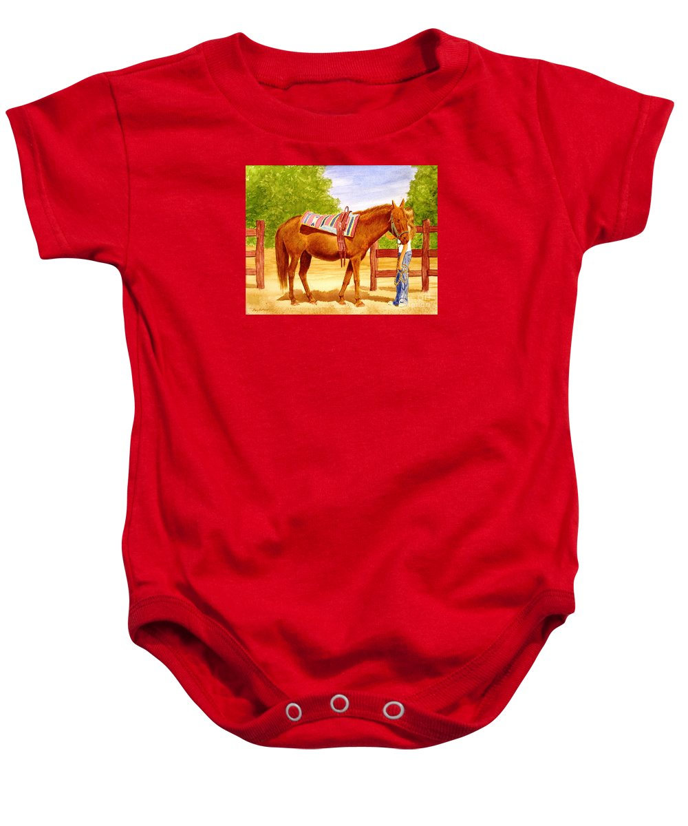 Equine Baby Onesie featuring the painting Girl Talk by Stacy C Bottoms
