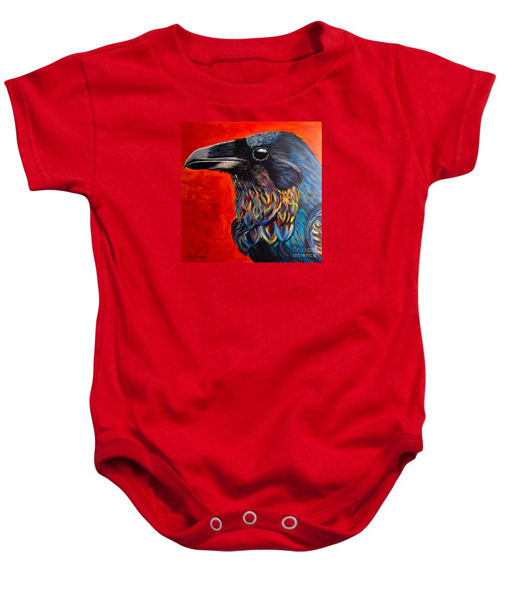 Raven Baby Onesie featuring the painting Glistening Raven by Melissa Symons