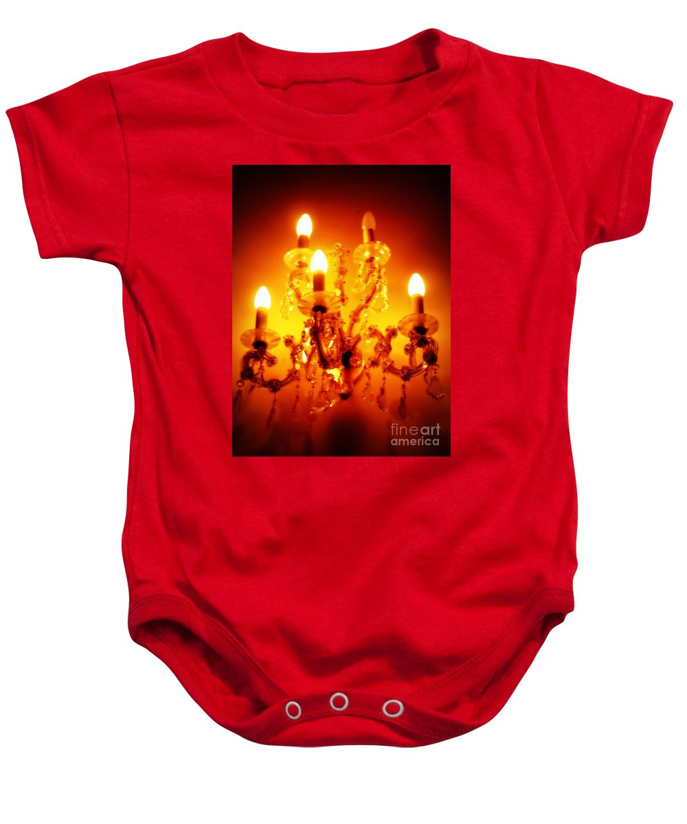 Dining Room Decor Baby Onesie featuring the photograph Glowing Chandelier--Companion Piece by Carol Groenen