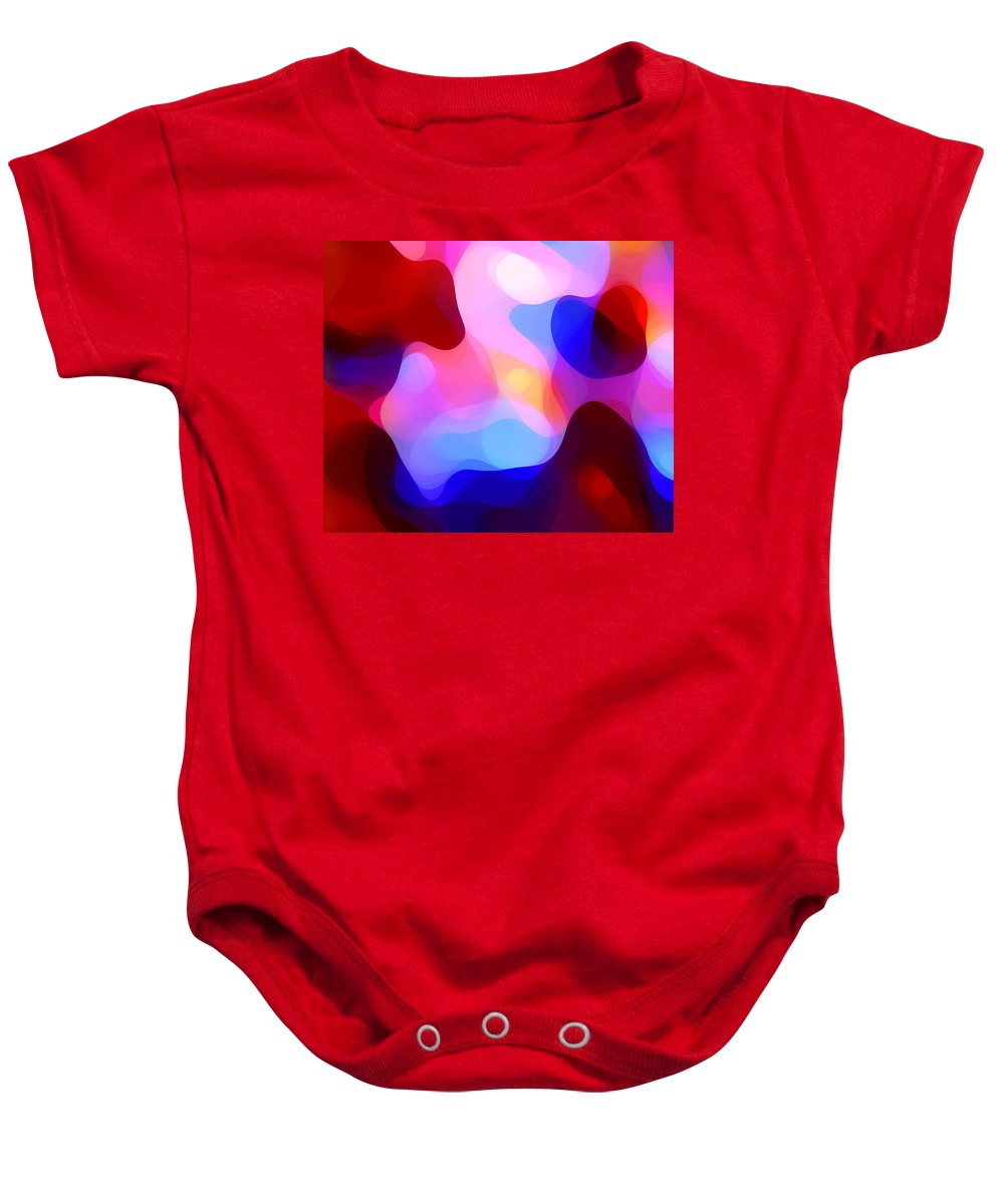 Abstract Painting Baby Onesie featuring the painting Glowing Light by Amy Vangsgard