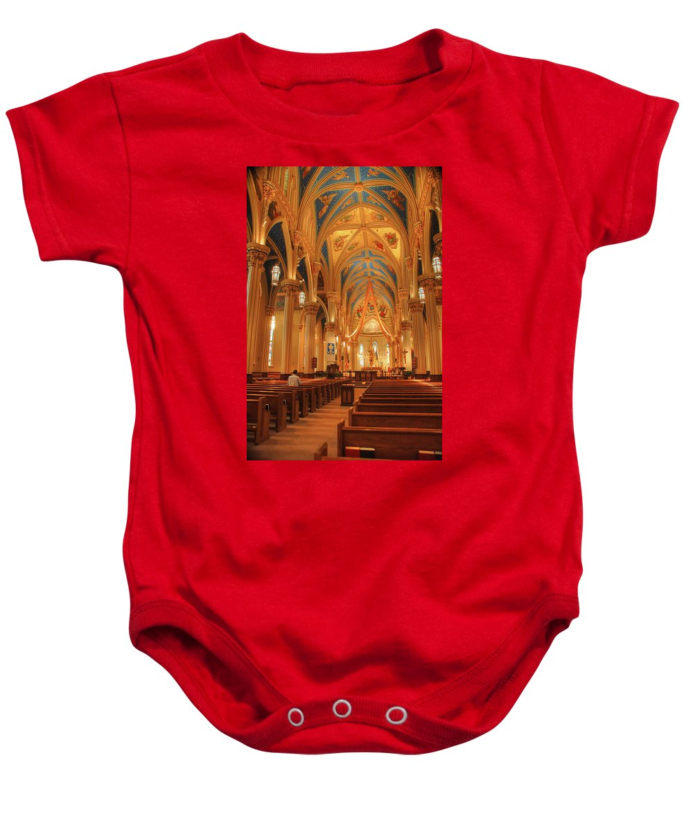 Cathedral Baby Onesie featuring the photograph God Do You Hear Me by Ken Smith