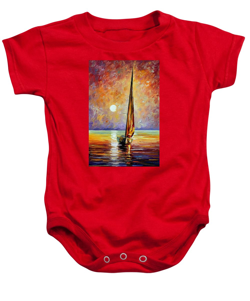 Afremov Baby Onesie featuring the painting Gold Sail by Leonid Afremov
