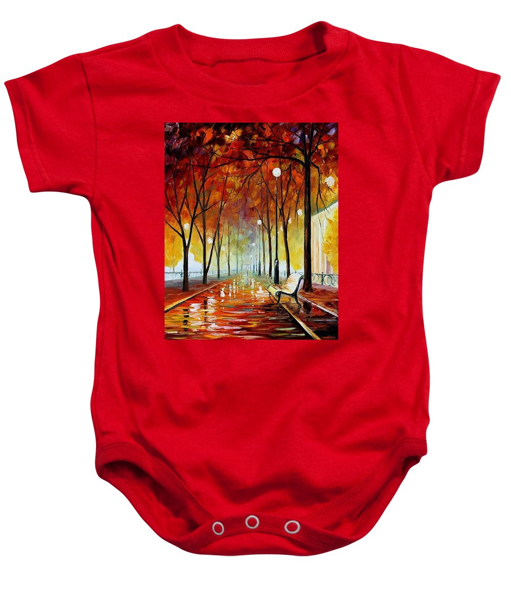Afremov Baby Onesie featuring the painting Golde Park by Leonid Afremov