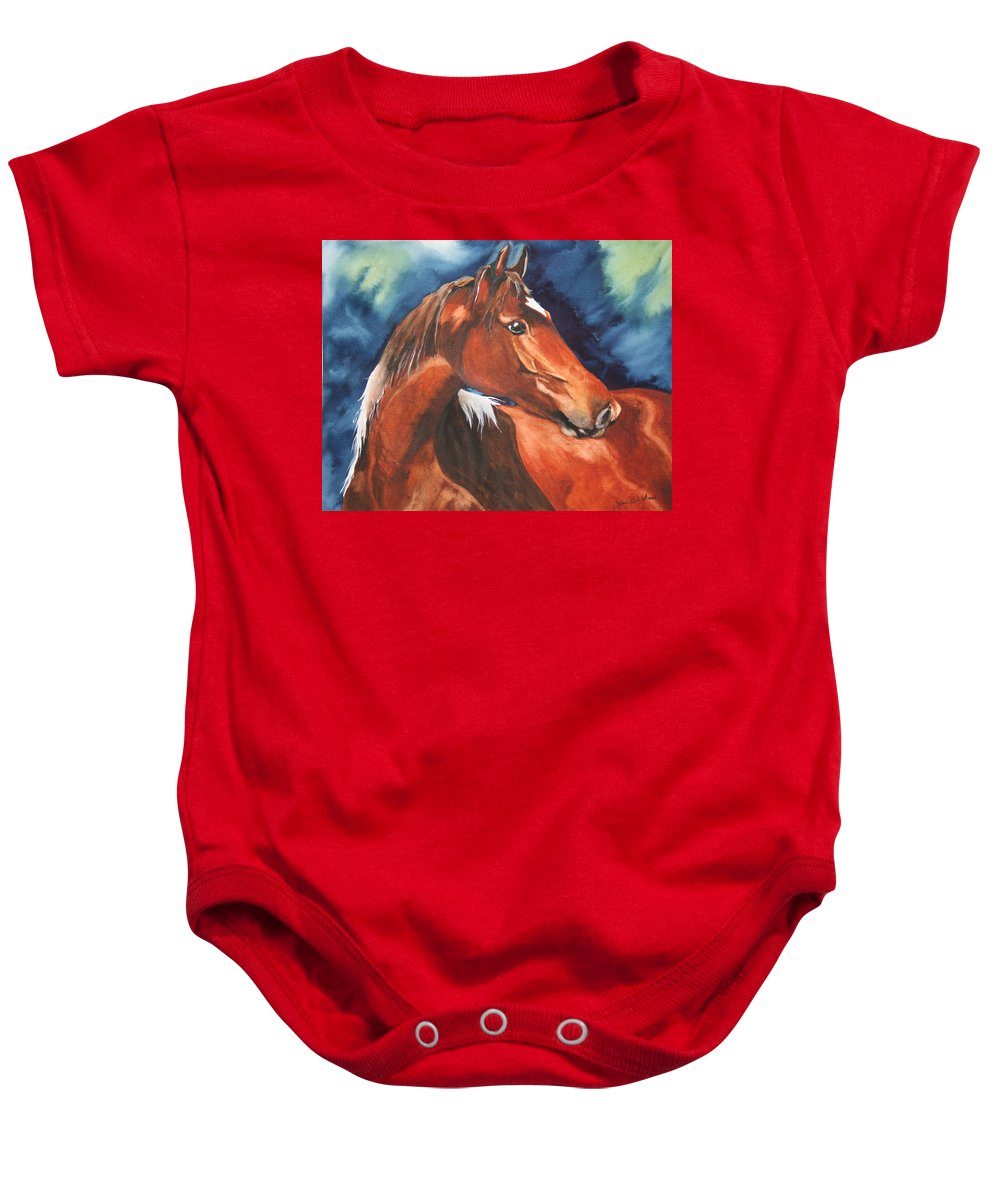 Horse Baby Onesie featuring the painting Golden Boy by Jean Blackmer
