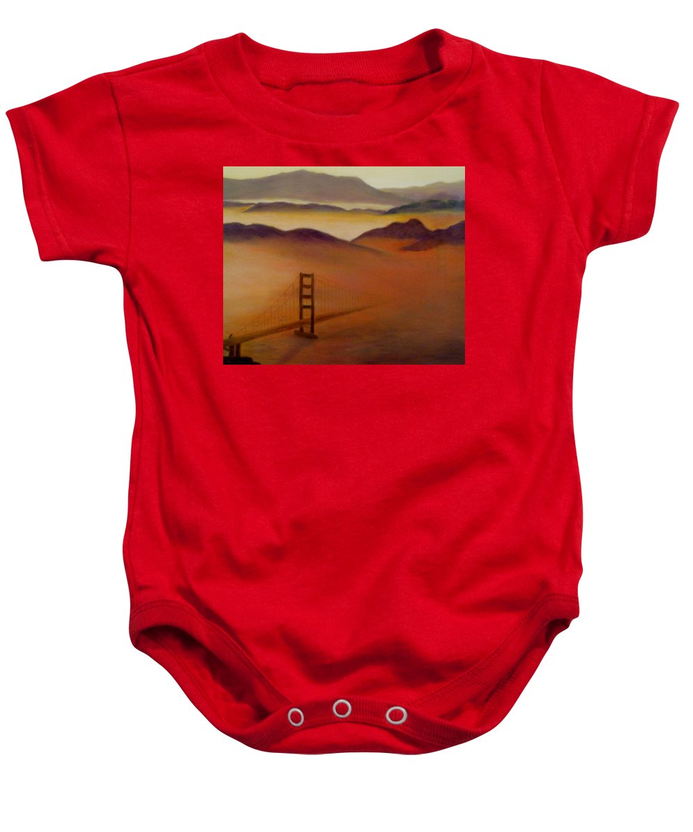Fog Baby Onesie featuring the painting Golden Gate Fog by Jamie Frier