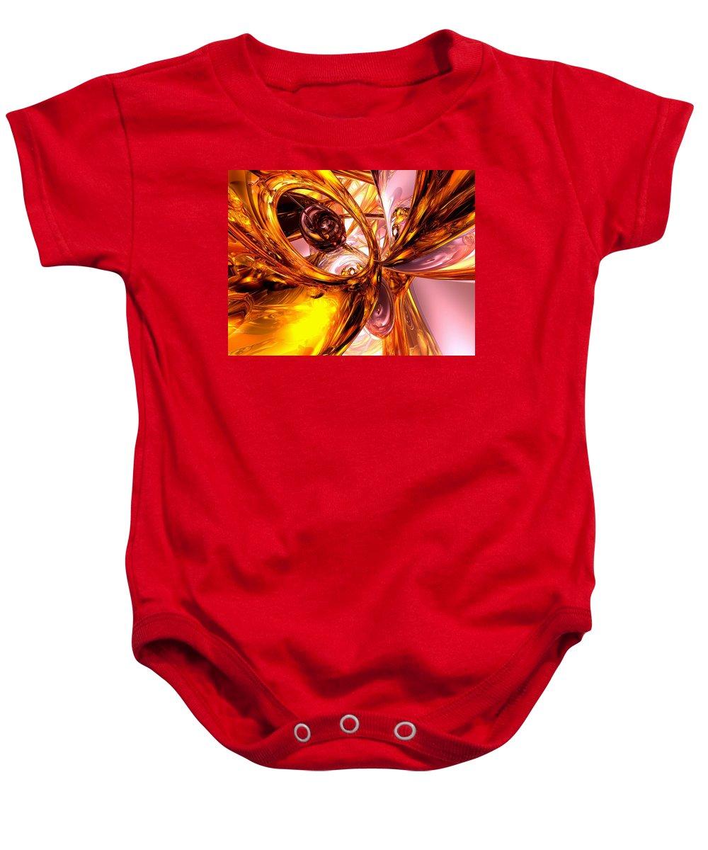 3d Baby Onesie featuring the digital art Golden Maelstrom Abstract by Alexander Butler