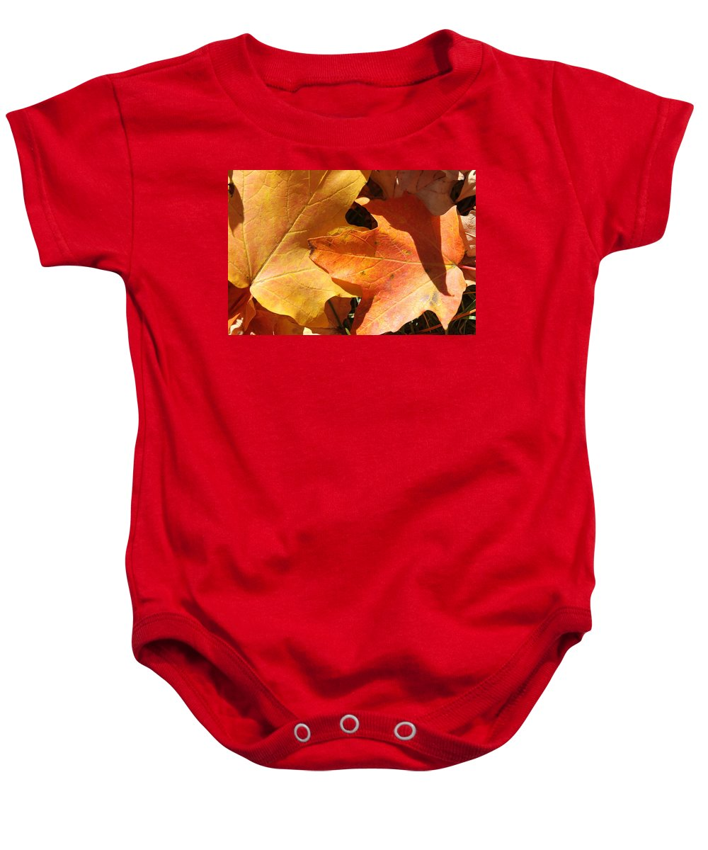 Leaves Baby Onesie featuring the photograph Golden Orange by Lauri Novak