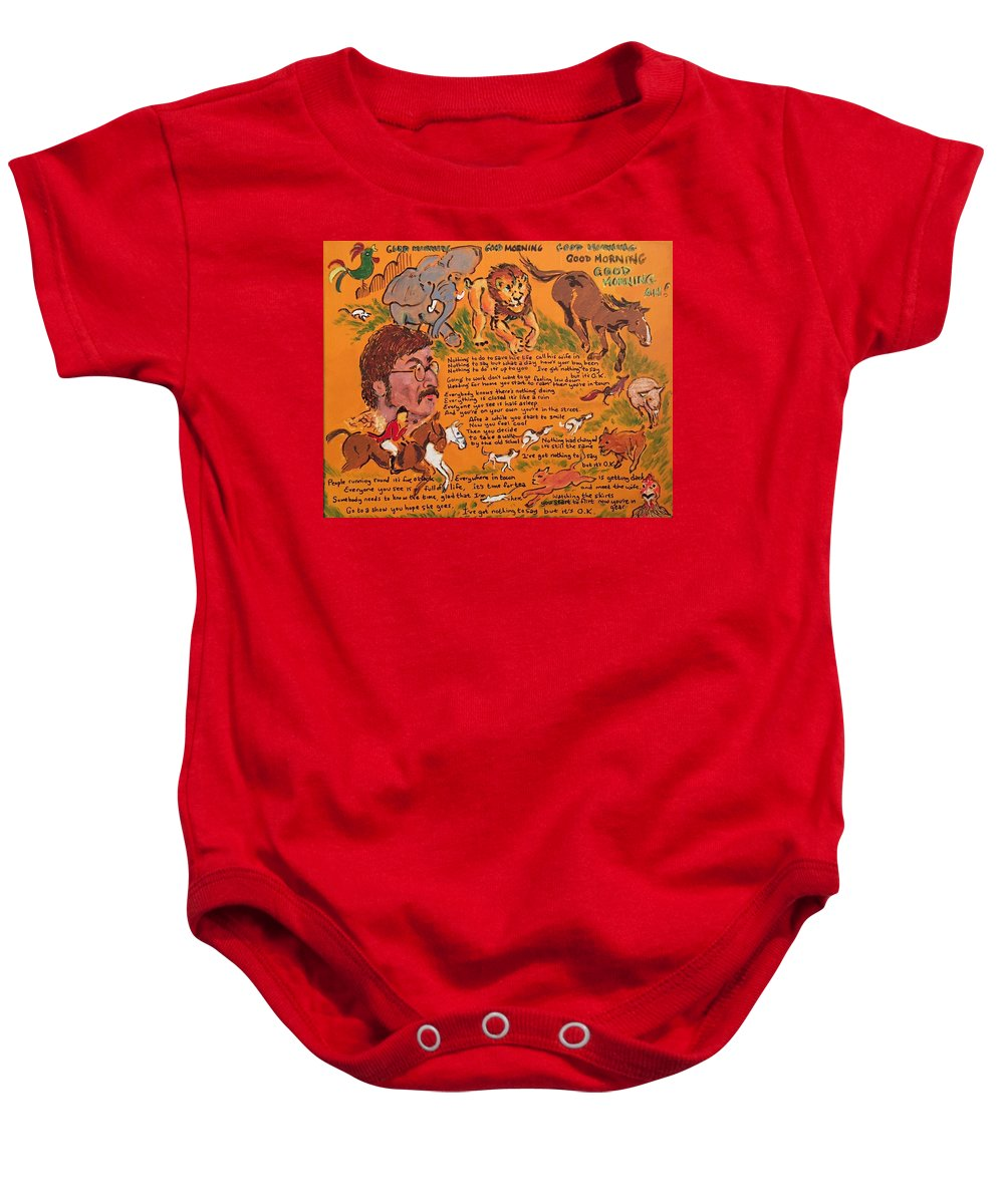 John Lennon Paul Mccartney George Harrison Ringo Starr Corn Flakes Sergeant Pepper's Lonely Hearts Club Band The Beatles 1967 Baby Onesie featuring the painting Good Morning by Jonathan Morrill