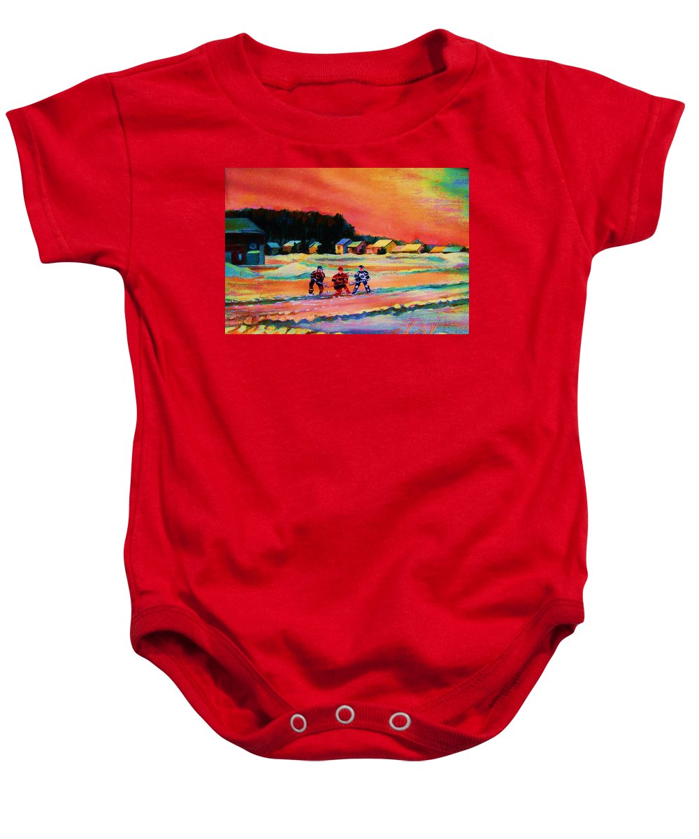 Hockey Landscape Baby Onesie featuring the painting Gorgeous Day For A Game by Carole Spandau