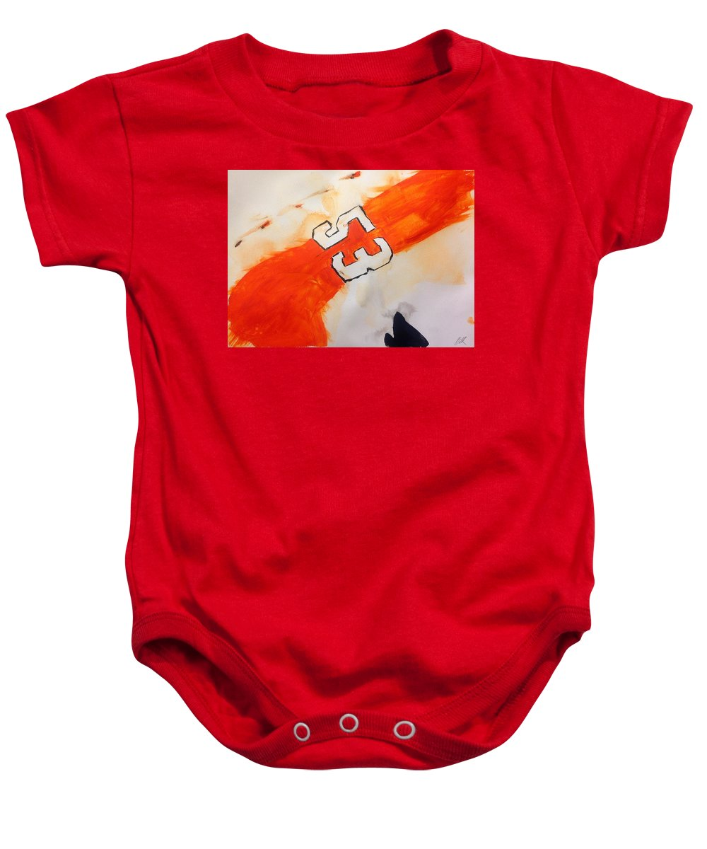 Abstract Hockey Painting Baby Onesie featuring the painting Gostisbehere No.1 by Desmond Raymond