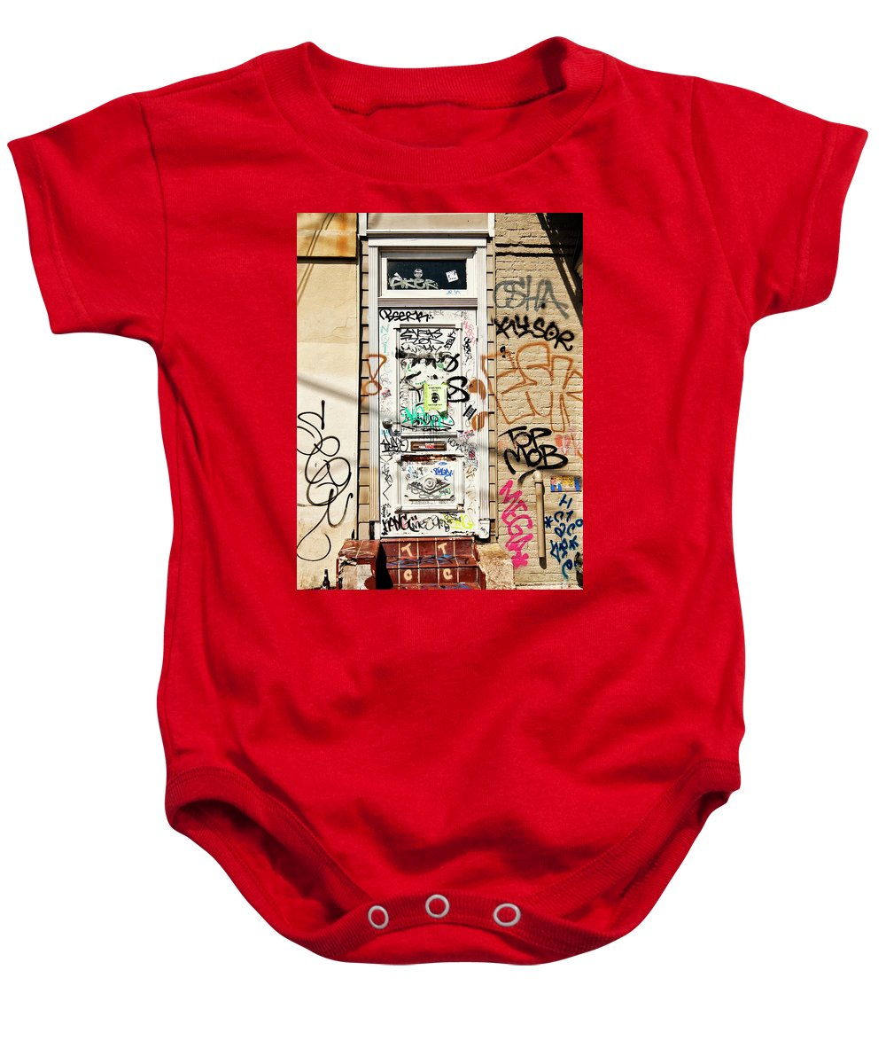Graffiti Baby Onesie featuring the photograph Graffiti Doorway New Orleans by Kathleen K Parker