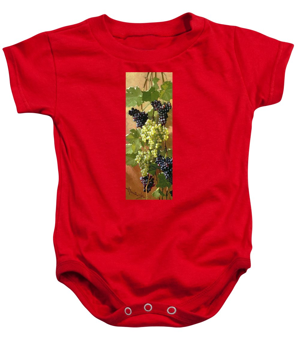 Grapes Baby Onesie featuring the painting Grapes by Edward Chalmers Leavitt