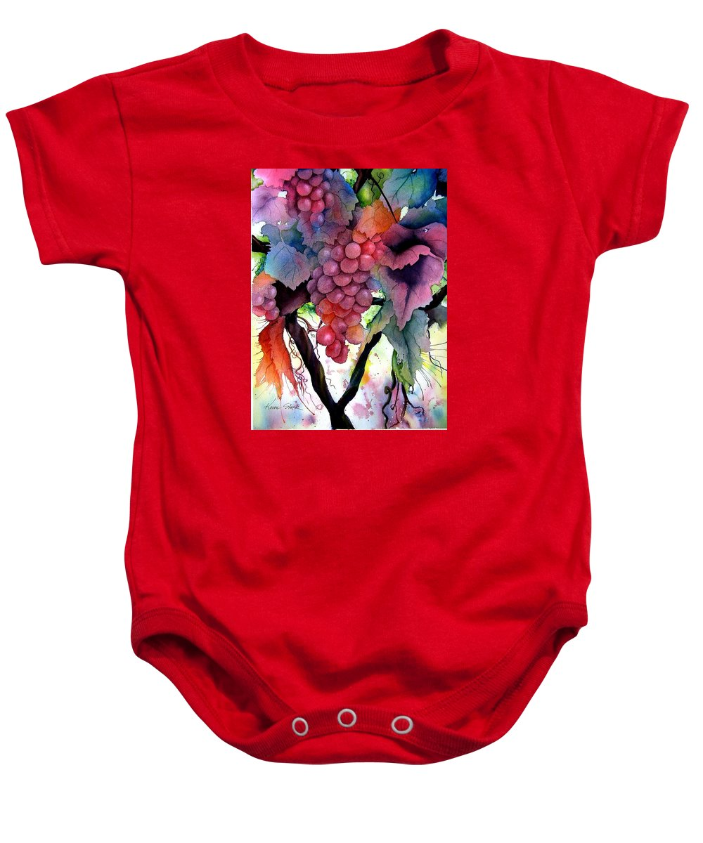 Grape Baby Onesie featuring the painting Grapes IIi by Karen Stark