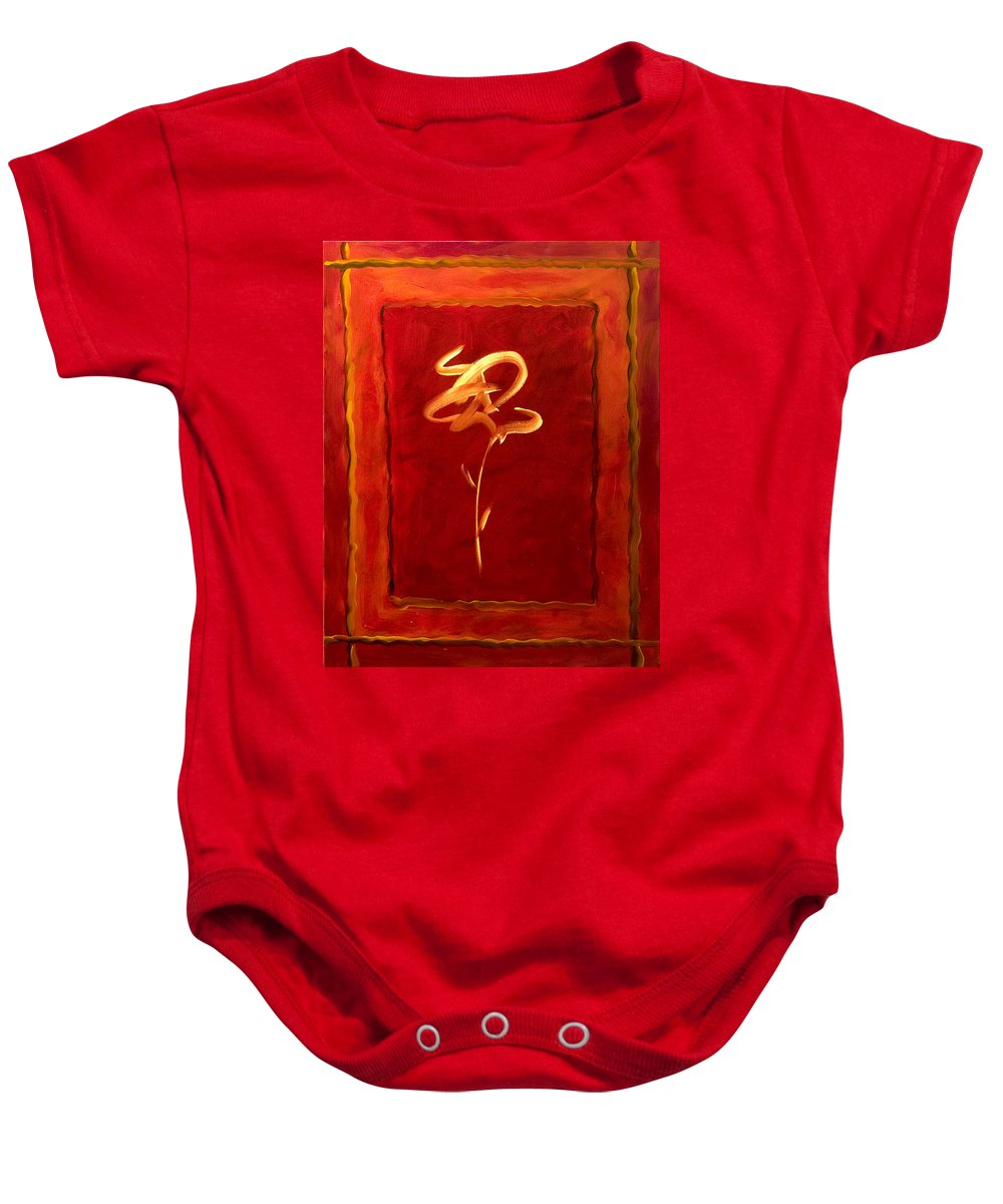 Abstract Flower Baby Onesie featuring the painting Gratitude by Shannon Grissom