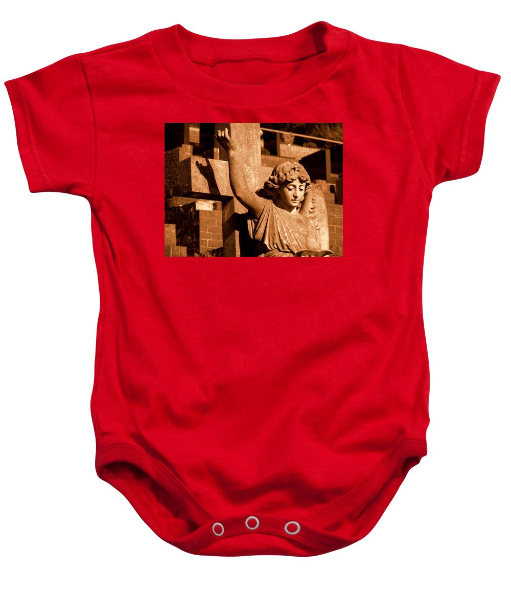 Graveyard Statue Baby Onesie featuring the photograph Graveyard Angel. by Phil Panton