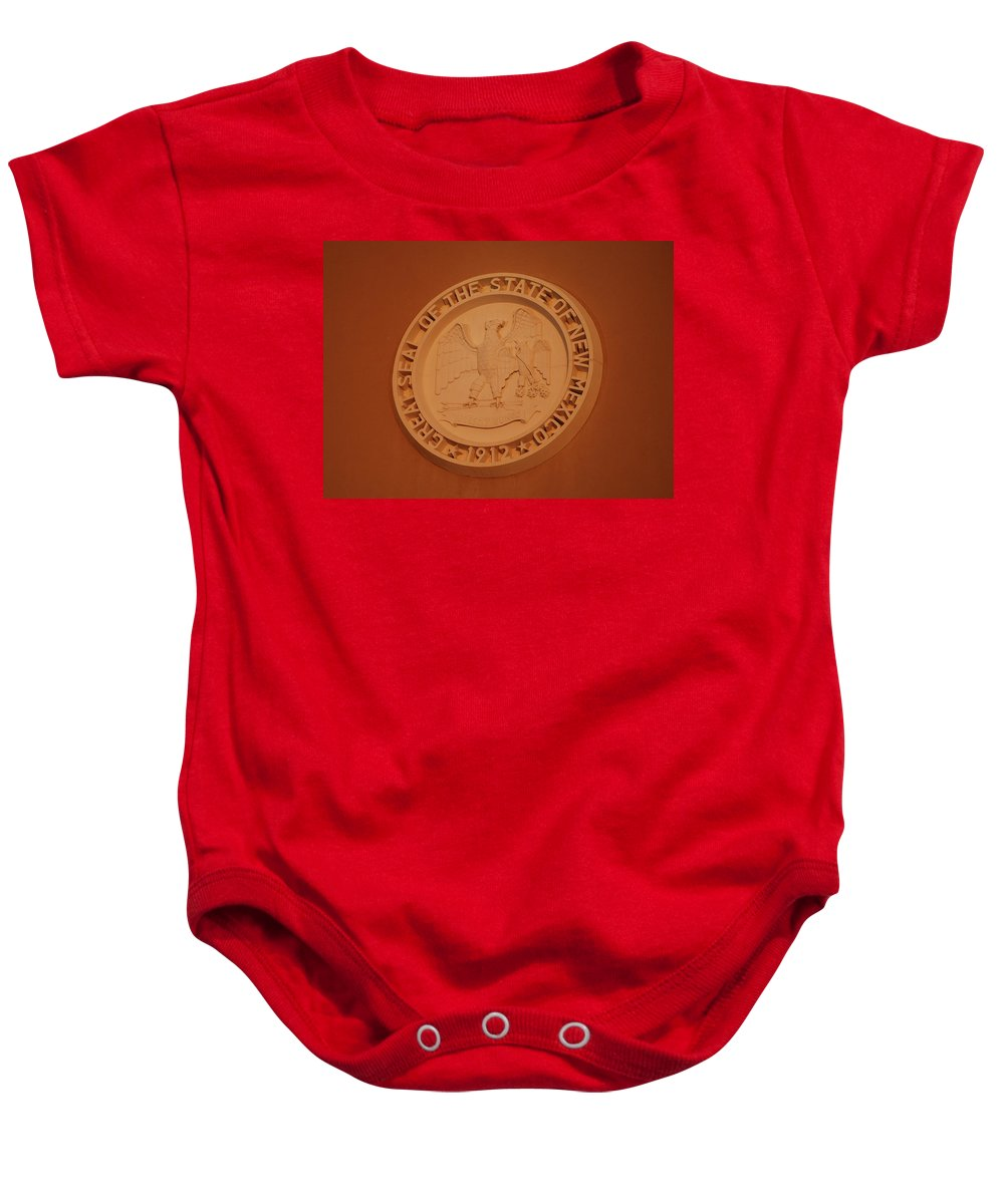Eagle Baby Onesie featuring the photograph Great Seal Of The State Of New Mexico 1912 by Rob Hans