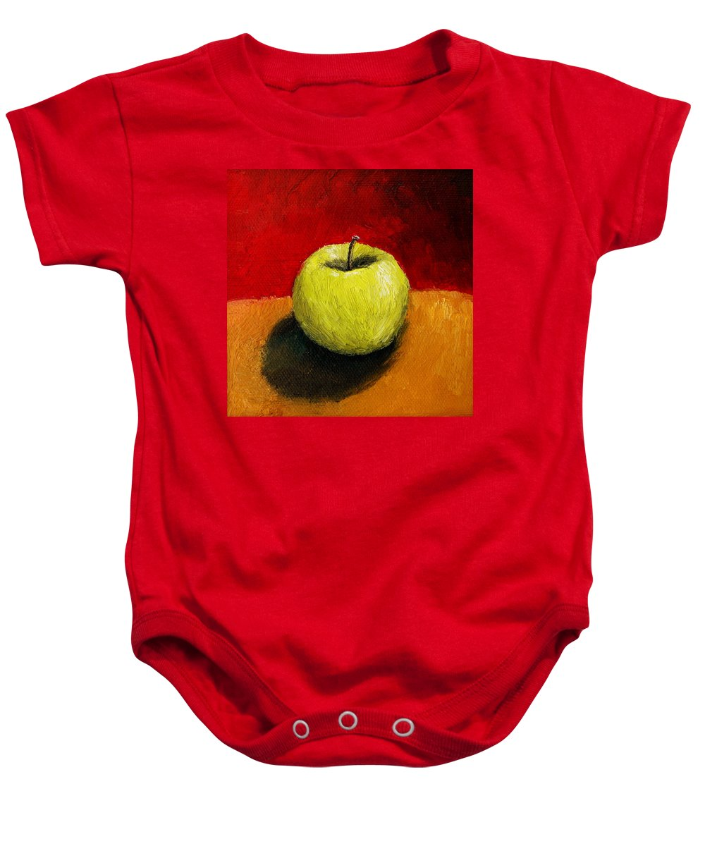 Apple Baby Onesie featuring the painting Green Apple With Red And Gold by Michelle Calkins