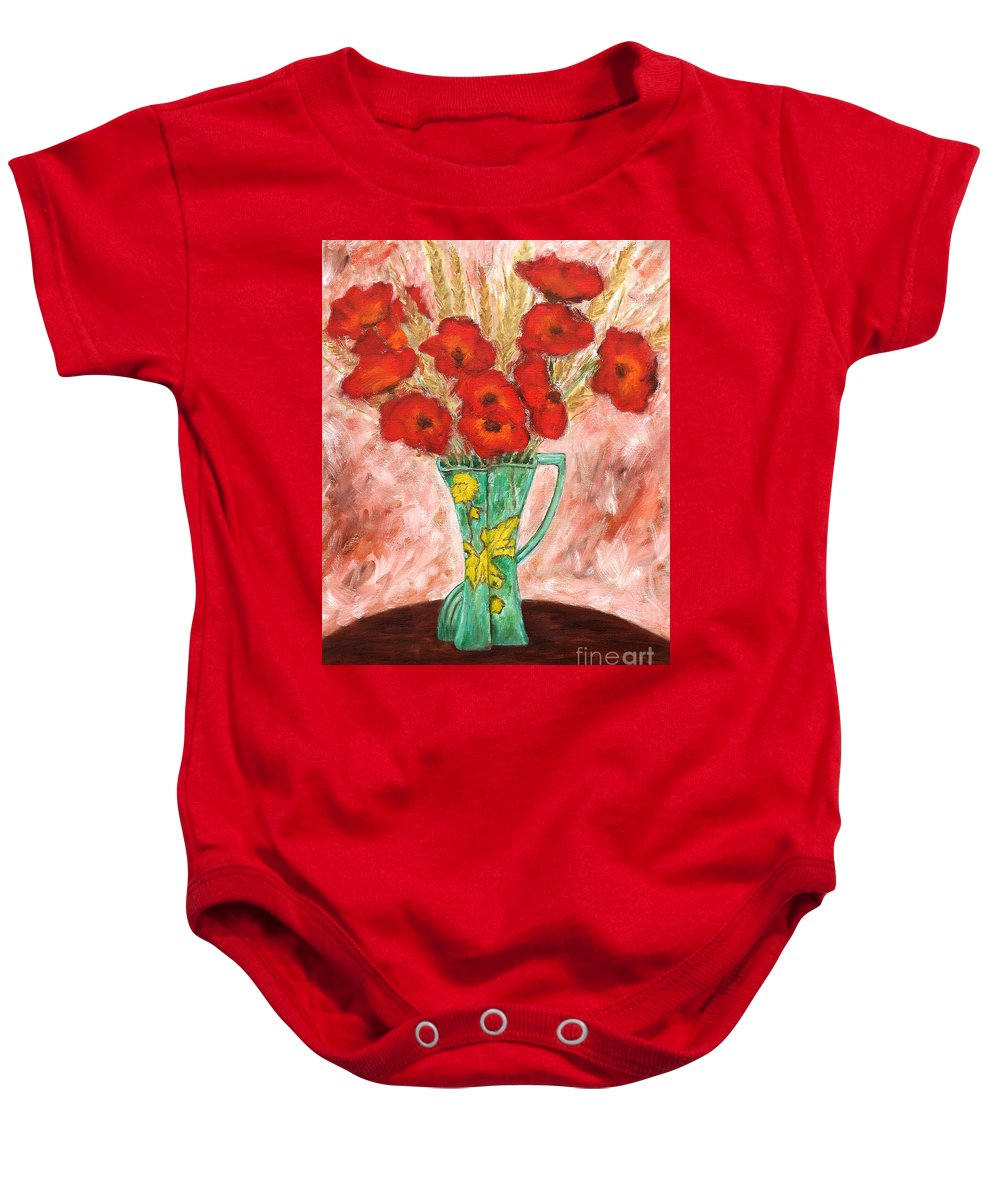 Valentine Baby Onesie featuring the painting Green Vase And Poppies by Patrick J Murphy