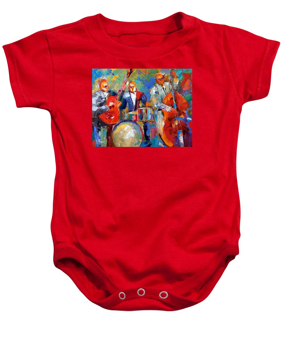 Jazz Painting Baby Onesie featuring the painting Guitar Drums And Bass by Debra Hurd