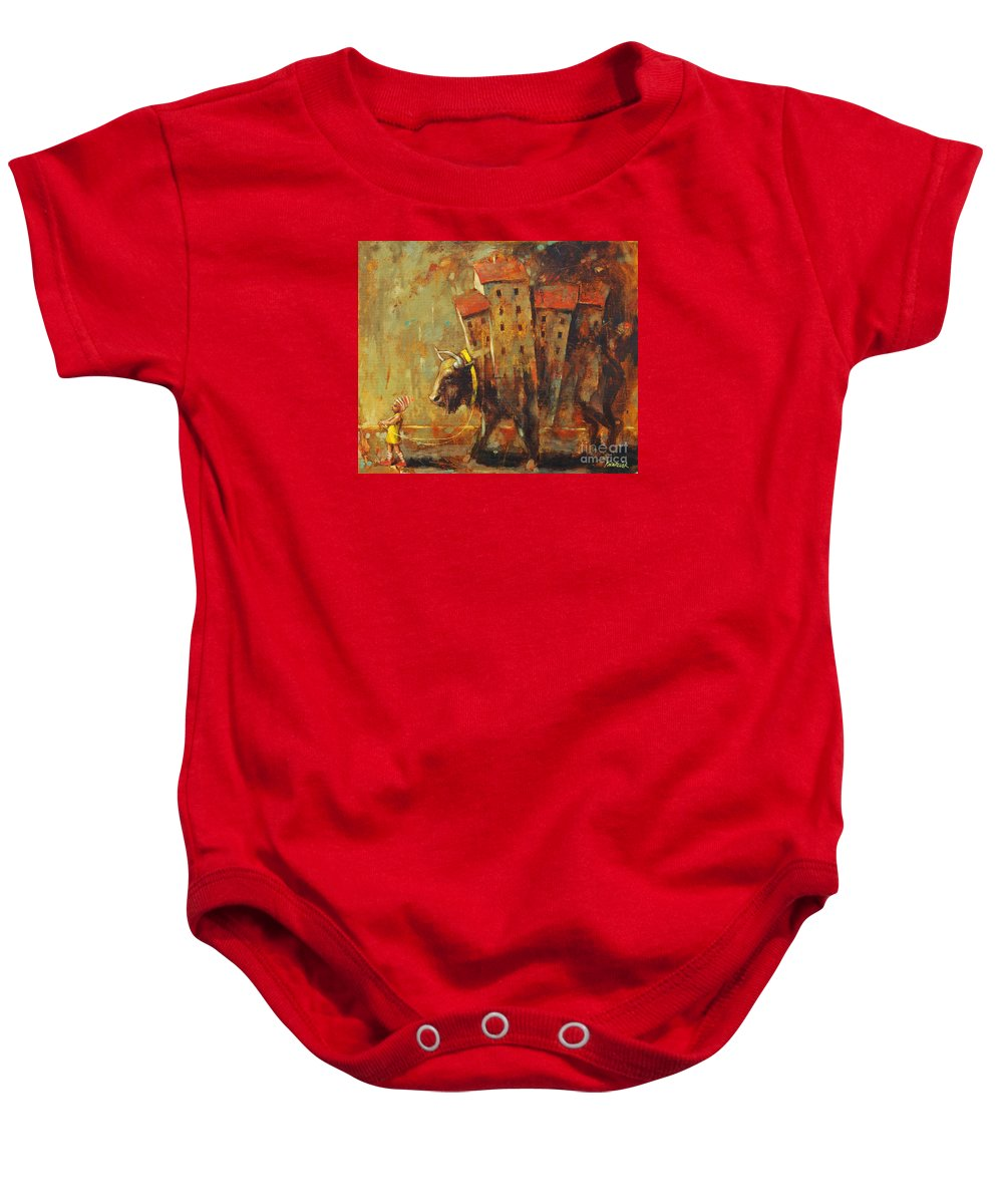 Gypsy Life Baby Onesie featuring the painting Gypsy Life by Michal Kwarciak