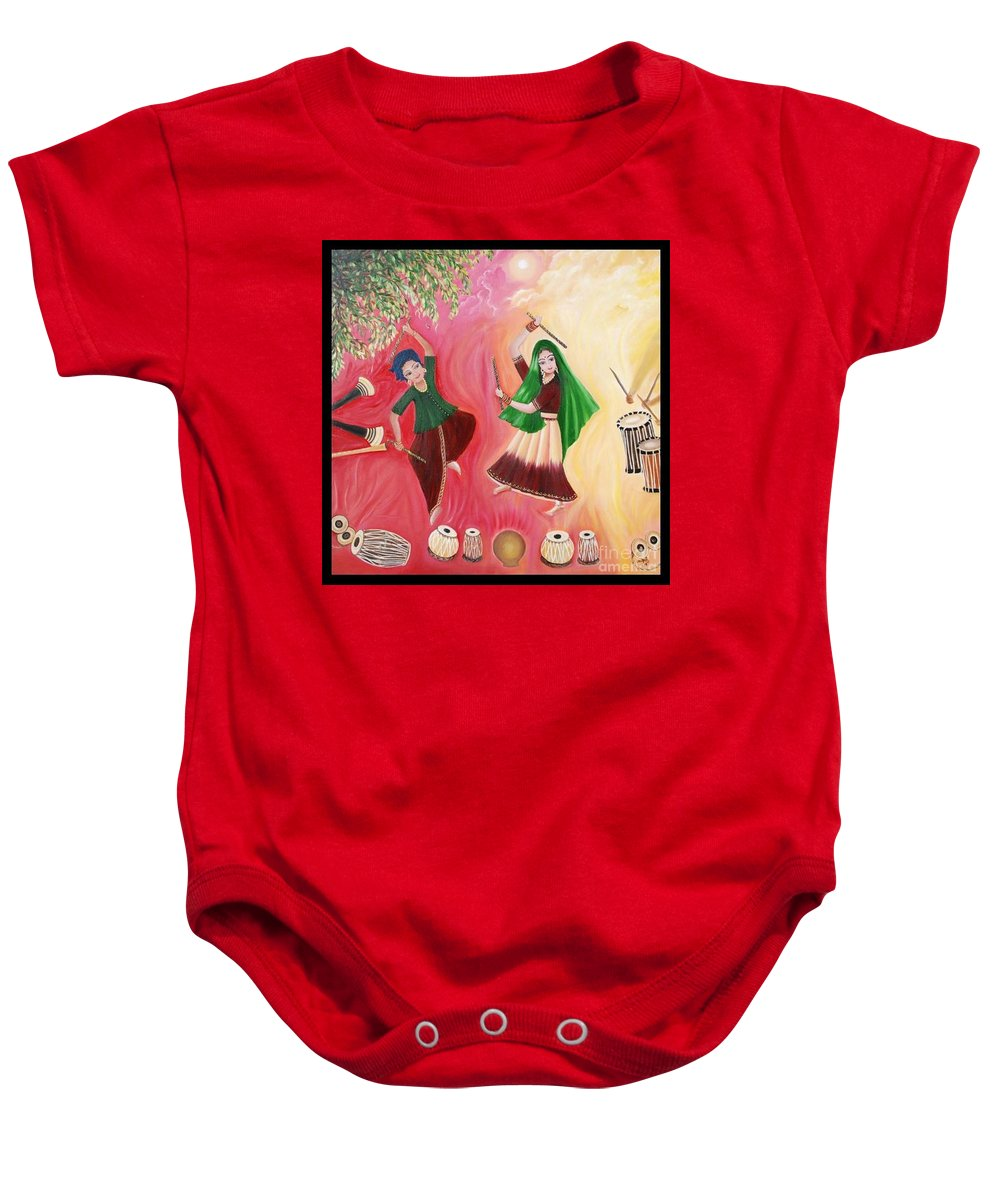 Figurative Baby Onesie featuring the painting Happiness by Usha Rai