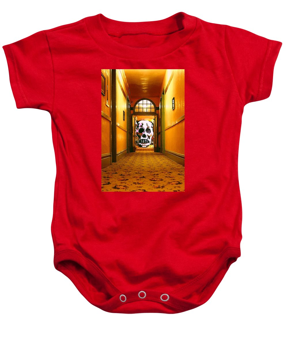 Haunted Baby Onesie featuring the photograph Haunted Hallway by Nelson Strong