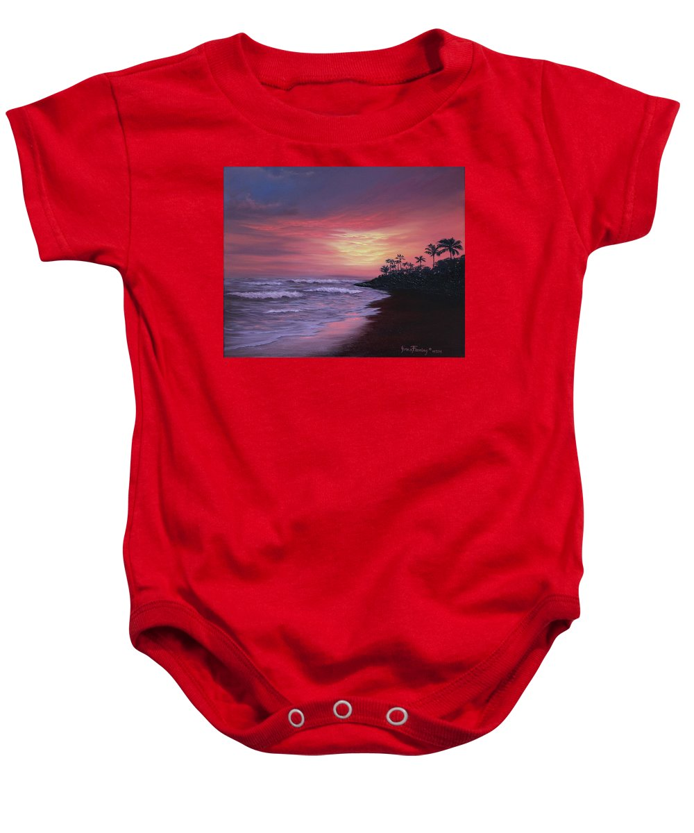Seascape/sunset Baby Onesie featuring the painting Hawaiian Sunset by Irina Fanning