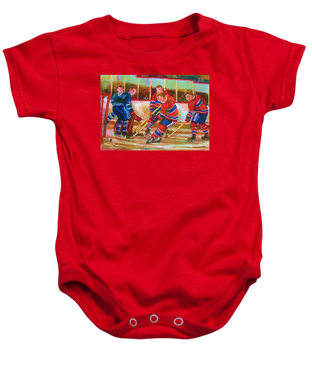 Hockey Baby Onesie featuring the painting He Shoots  He Scores by Carole Spandau