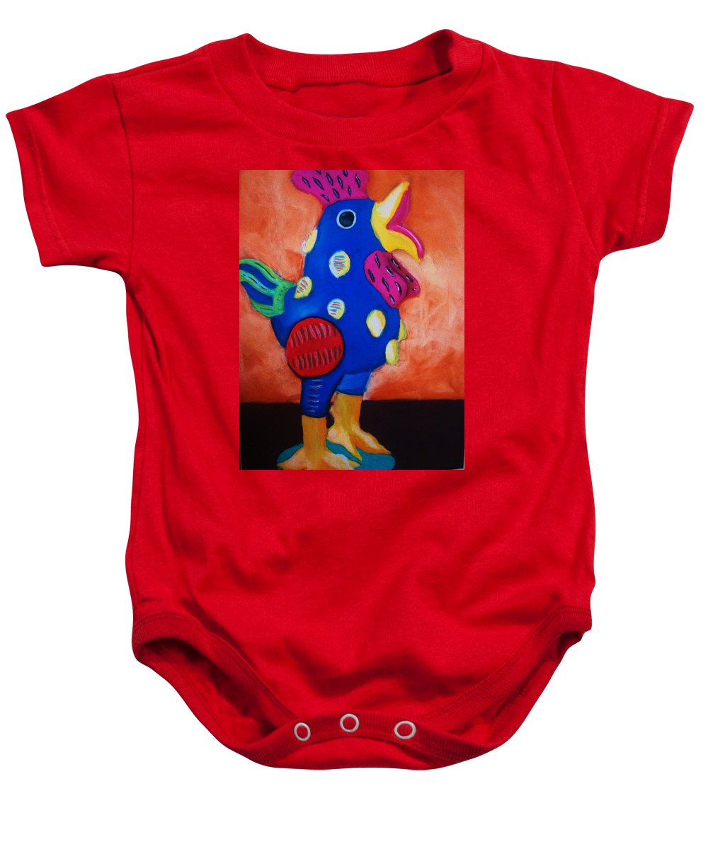 Chick Baby Onesie featuring the painting Hear Ye Hear Ye by Melinda Etzold