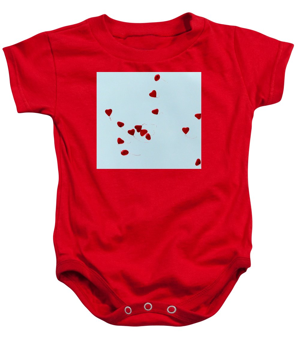 Balloon Baby Onesie featuring the photograph Heart Balloons In The Sky by Valerie Ornstein