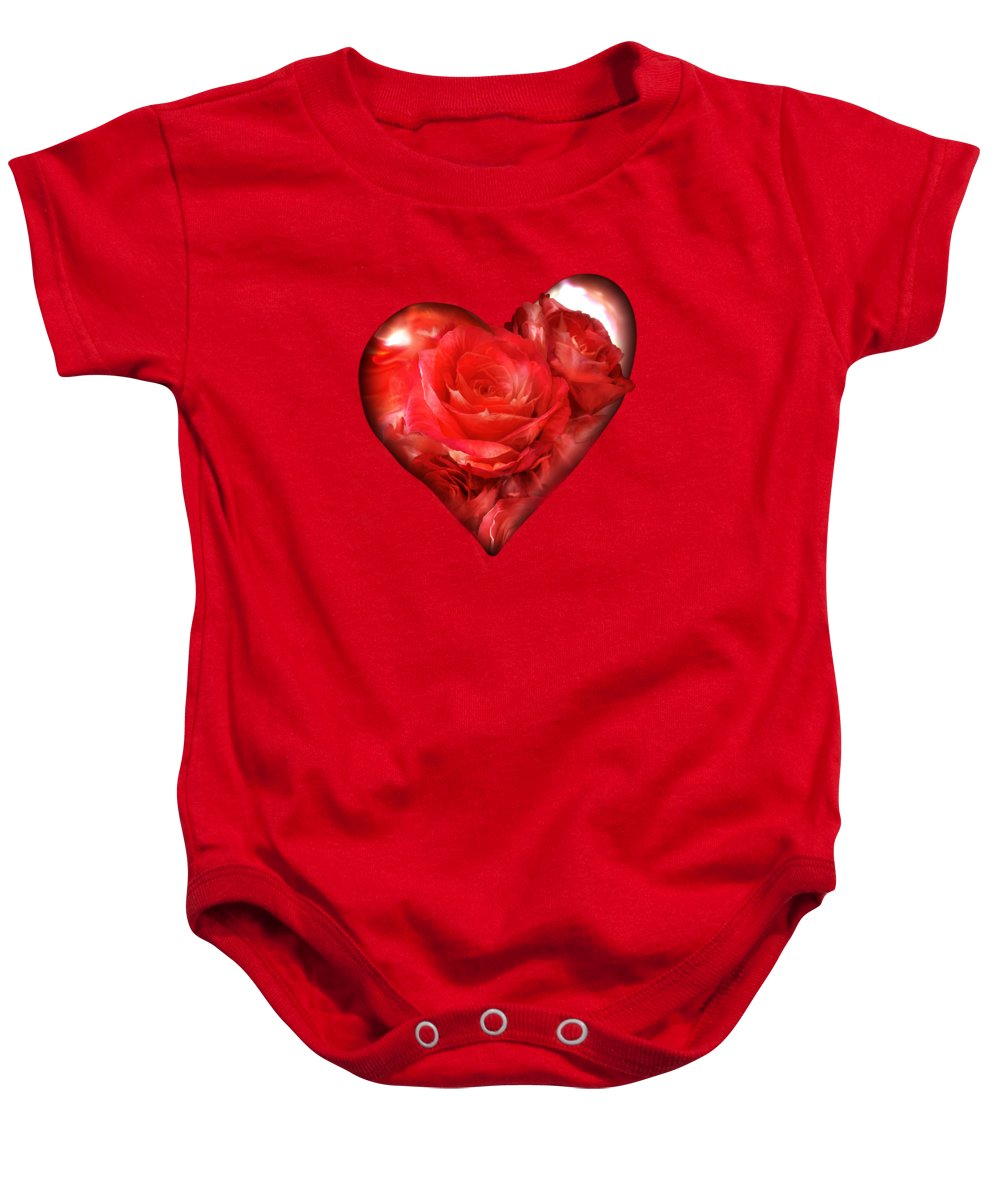 Rose Baby Onesie featuring the mixed media Heart Of A Rose - Red by Carol Cavalaris