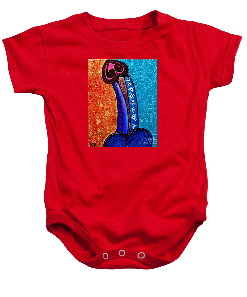Heart On Baby Onesie featuring the painting Heart On Painting by Davids Digits